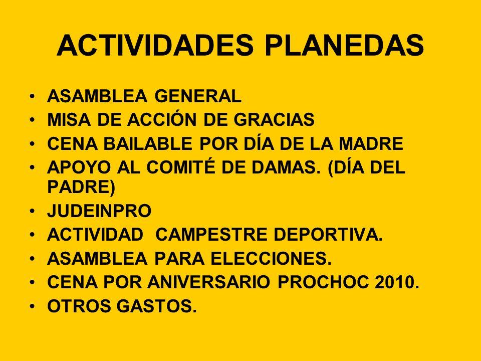 ACTIVIDADES PLANEDAS ASAMBLEA GENERAL MISA DE ACCIÓN DE GRACIAS CENA BAILABLE POR DÍA DE LA MADRE APOYO AL COMITÉ DE DAMAS. (DÍA DEL PADRE) JUDEINPRO