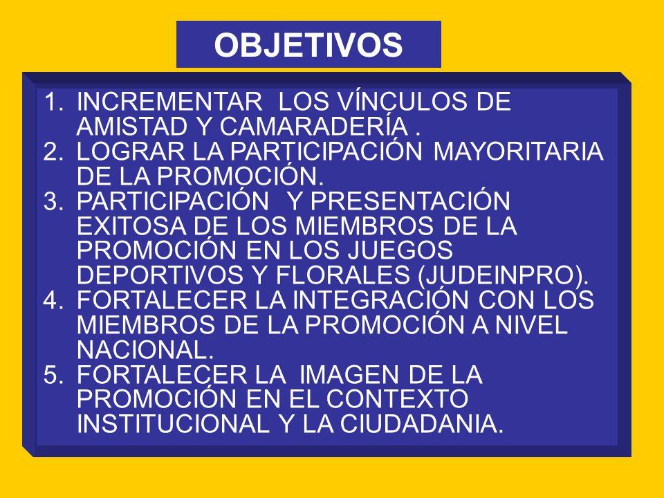 1.INCREMENTAR LOS VÍNCULOS DE AMISTAD Y CAMARADERÍA. 2.LOGRAR LA PARTICIPACIÓN MAYORITARIA DE LA PROMOCIÓN. 3.PARTICIPACIÓN Y PRESENTACIÓN EXITOSA DE