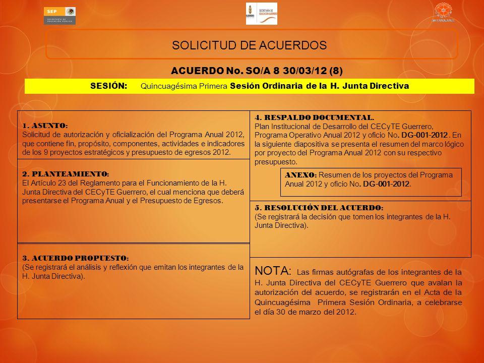 ACUERDO No.SO/A 07 30/03/12 (7) SOLICITUD DE ACUERDOS 1.