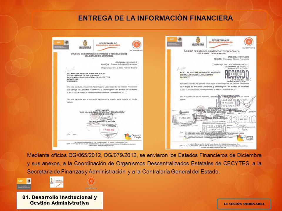 Mediante oficios DG/065/2012, DG/079/2012, se enviaron los Estados Financieros de Diciembre y sus anexos, a la Coordinación de Organismos Descentralizados Estatales de CECYTES, a la Secretaria de Finanzas y Administración y a la Contraloría General del Estado.