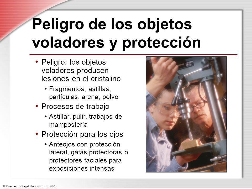 © Business & Legal Reports, Inc. 0606 Peligro de los objetos voladores y protección Peligro: los objetos voladores producen lesiones en el cristalino