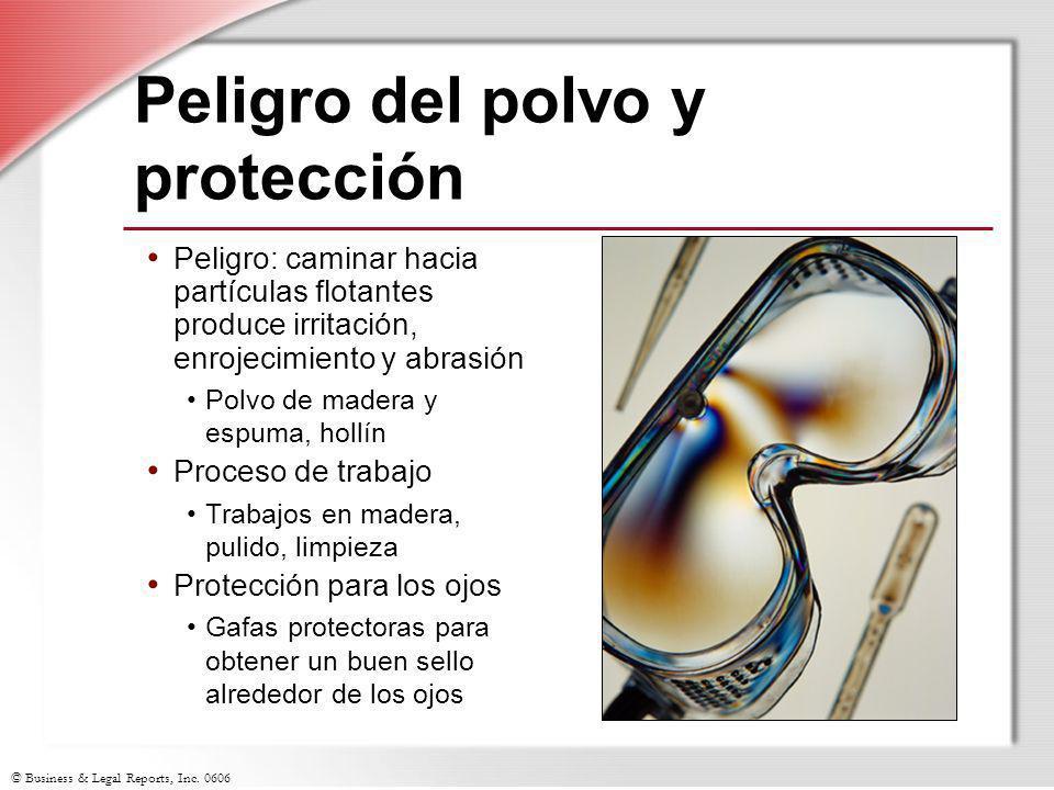 © Business & Legal Reports, Inc. 0606 Peligro del polvo y protección Peligro: caminar hacia partículas flotantes produce irritación, enrojecimiento y