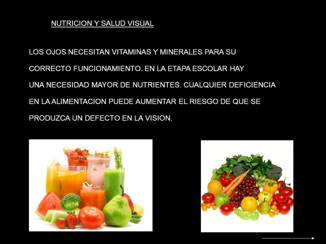 NUTRICION Y SALUD VISUAL LOS OJOS NECESITAN VITAMINAS Y MINERALES PARA SU CORRECTO FUNCIONAMIENTO. EN LA ETAPA ESCOLAR HAY UNA NECESIDAD MAYOR DE NUTR