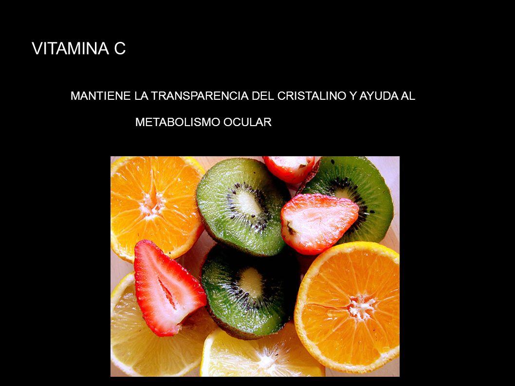VITAMINA C MANTIENE LA TRANSPARENCIA DEL CRISTALINO Y AYUDA AL METABOLISMO OCULAR