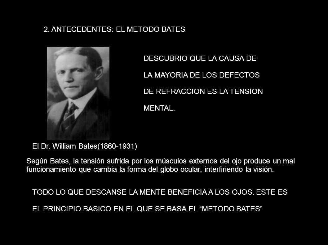 2. ANTECEDENTES: EL METODO BATES El Dr. William Bates(1860-1931) DESCUBRIO QUE LA CAUSA DE LA MAYORIA DE LOS DEFECTOS DE REFRACCION ES LA TENSION MENT