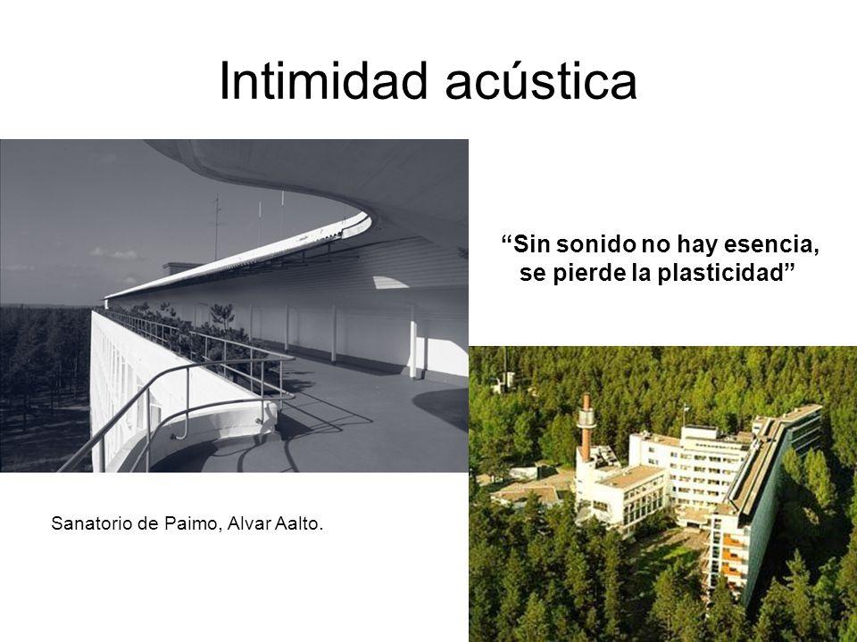 Intimidad acústica Sin sonido no hay esencia, se pierde la plasticidad Sanatorio de Paimo, Alvar Aalto.