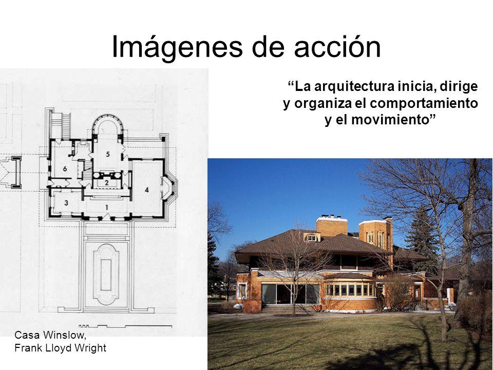 Imágenes de acción Casa Winslow, Frank Lloyd Wright La arquitectura inicia, dirige y organiza el comportamiento y el movimiento