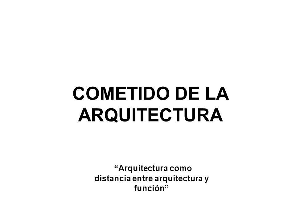 COMETIDO DE LA ARQUITECTURA Arquitectura como distancia entre arquitectura y función