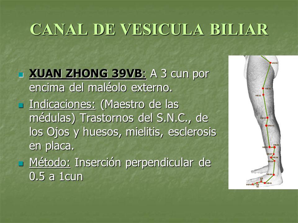 CANAL DE VESICULA BILIAR XUAN ZHONG 39VB: A 3 cun por encima del maléolo externo. XUAN ZHONG 39VB: A 3 cun por encima del maléolo externo. Indicacione