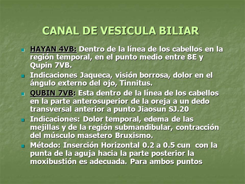 CANAL DE VESICULA BILIAR HAYAN 4VB: Dentro de la línea de los cabellos en la región temporal, en el punto medio entre 8E y Qupin 7VB. HAYAN 4VB: Dentr