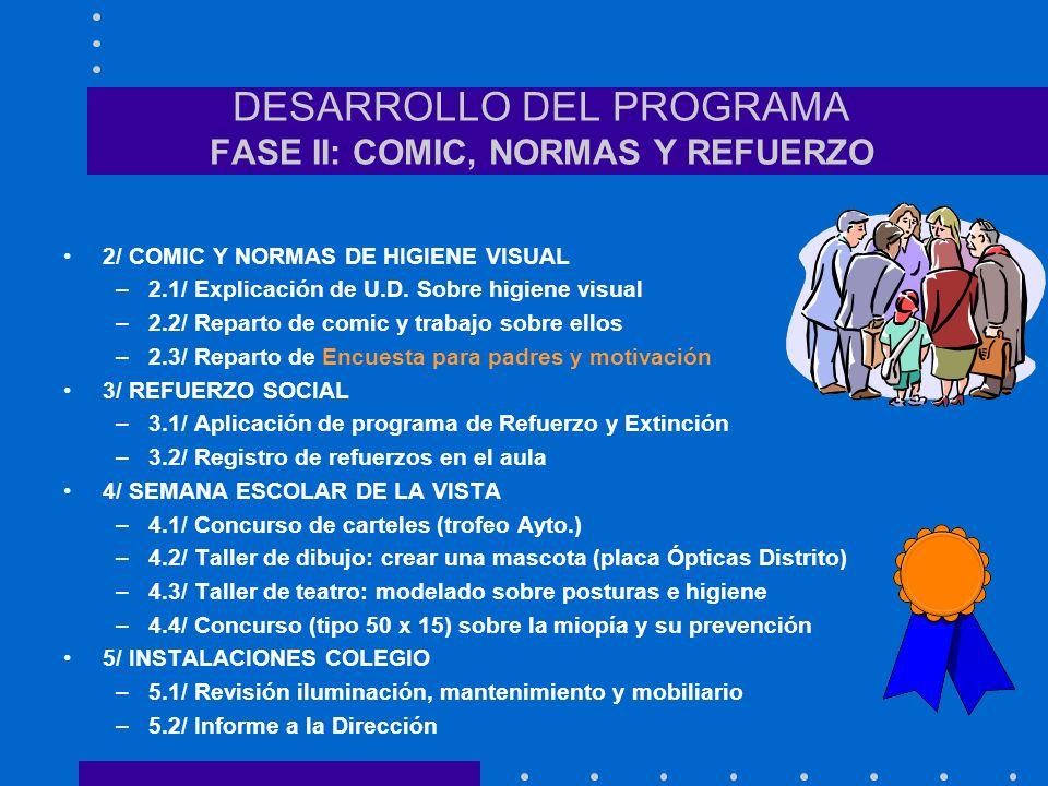DESARROLLO DEL PROGRAMA FASE I: INFORMACIÓN 1/ Curso de formación profesores –1ª (1 h.): Miopía y su prevención –2ª (1 h.): Comic y U. Didáctica Higie