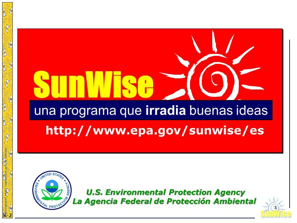 SunWiseSunWise JA K-2 1 SunWise una programa que irradia buenas ideas http://www.epa.gov/sunwise/es U.S. Environmental Protection Agency La Agencia Fe