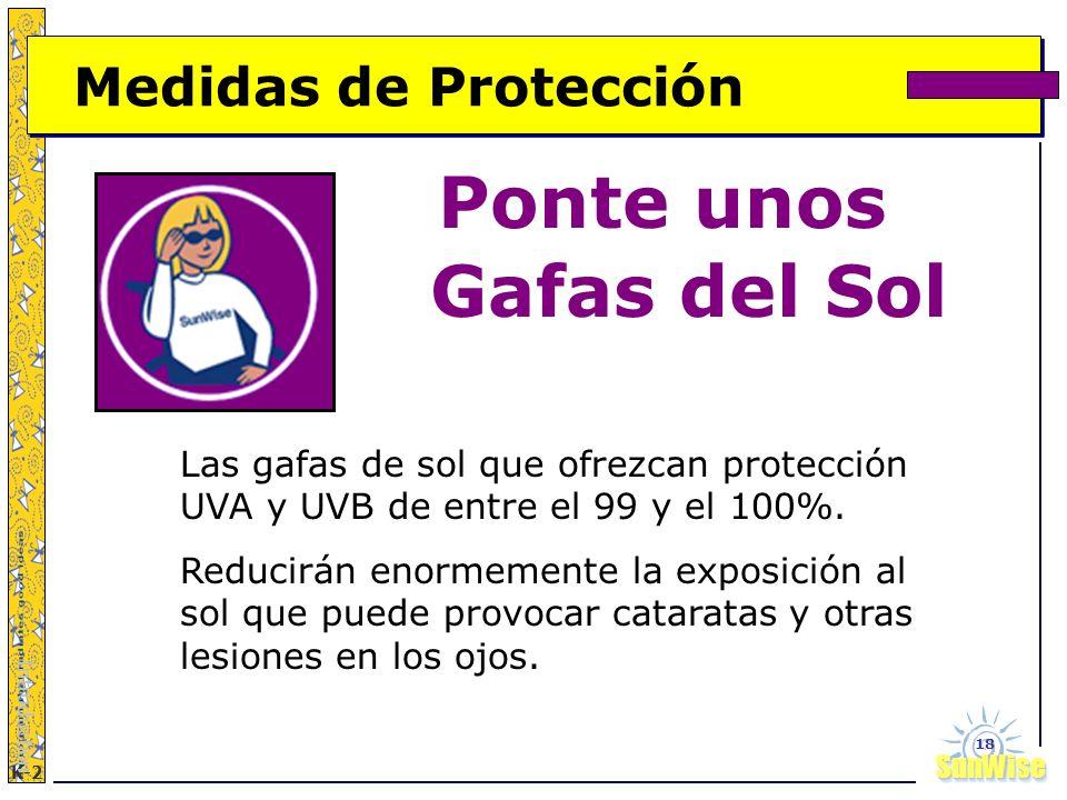 SunWiseSunWise JA K-2 18 Medidas de Protección Ponte unos Gafas del Sol Introduction Las gafas de sol que ofrezcan protección UVA y UVB de entre el 99