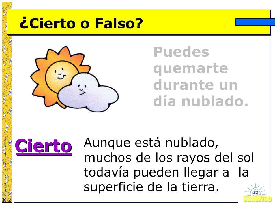SunWiseSunWise JA K-2 23 ¿ Cierto o Falso? Introduction Aunque está nublado, muchos de los rayos del sol todavía pueden llegar a la superficie de la t