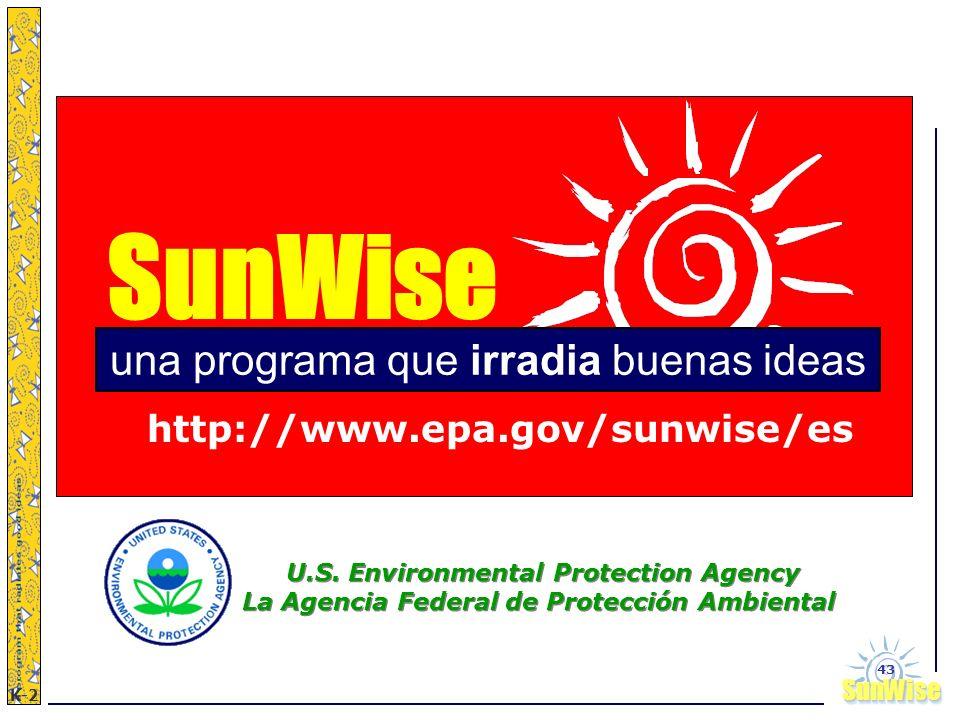 SunWiseSunWise JA K-2 43 SunWise http://www.epa.gov/sunwise/es una programa que irradia buenas ideas U.S. Environmental Protection Agency La Agencia F