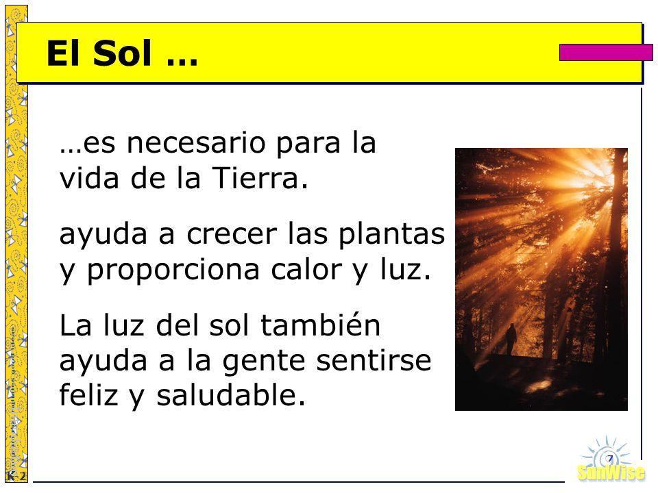 SunWiseSunWise JA K-2 7 El Sol … …es necesario para la vida de la Tierra. ayuda a crecer las plantas y proporciona calor y luz. La luz del sol también