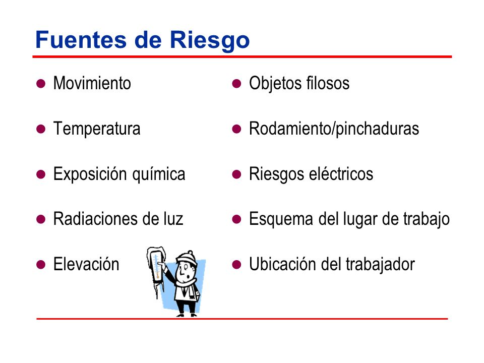 Fuentes de Riesgo Movimiento Temperatura Exposición química Radiaciones de luz Elevación Objetos filosos Rodamiento/pinchaduras Riesgos eléctricos Esq