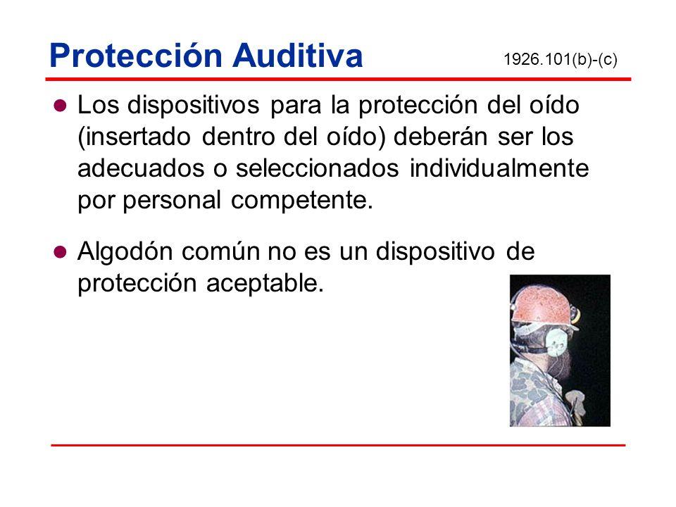 Protección Auditiva Los dispositivos para la protección del oído (insertado dentro del oído) deberán ser los adecuados o seleccionados individualmente