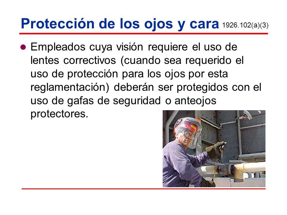 Protección de los ojos y cara Empleados cuya visión requiere el uso de lentes correctivos (cuando sea requerido el uso de protección para los ojos por