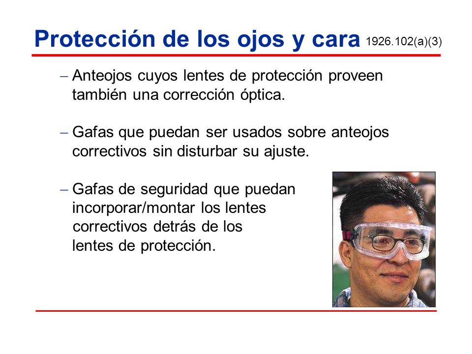 Protección de los ojos y cara Anteojos cuyos lentes de protección proveen también una corrección óptica. Gafas que puedan ser usados sobre anteojos co