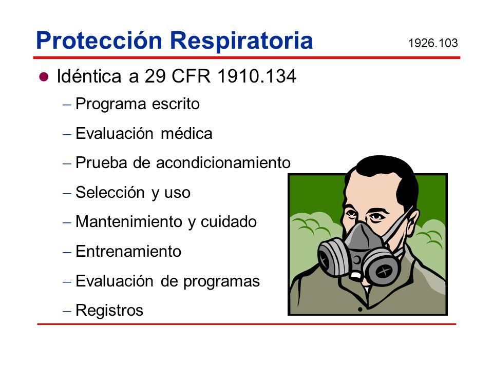 Protección Respiratoria Idéntica a 29 CFR 1910.134 Programa escrito Evaluación médica Prueba de acondicionamiento Selección y uso Mantenimiento y cuid