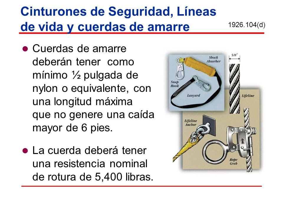 Cinturones de Seguridad, Líneas de vida y cuerdas de amarre Cuerdas de amarre deberán tener como mínimo ½ pulgada de nylon o equivalente, con una long