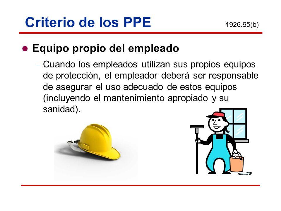Equipo propio del empleado Cuando los empleados utilizan sus propios equipos de protección, el empleador deberá ser responsable de asegurar el uso ade