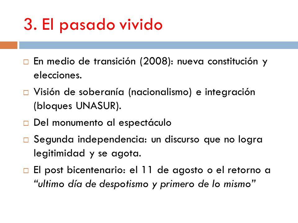 3. El pasado vivido En medio de transición (2008): nueva constitución y elecciones.