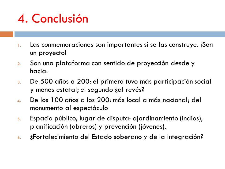 4. Conclusión 1. Las conmemoraciones son importantes si se las construye.