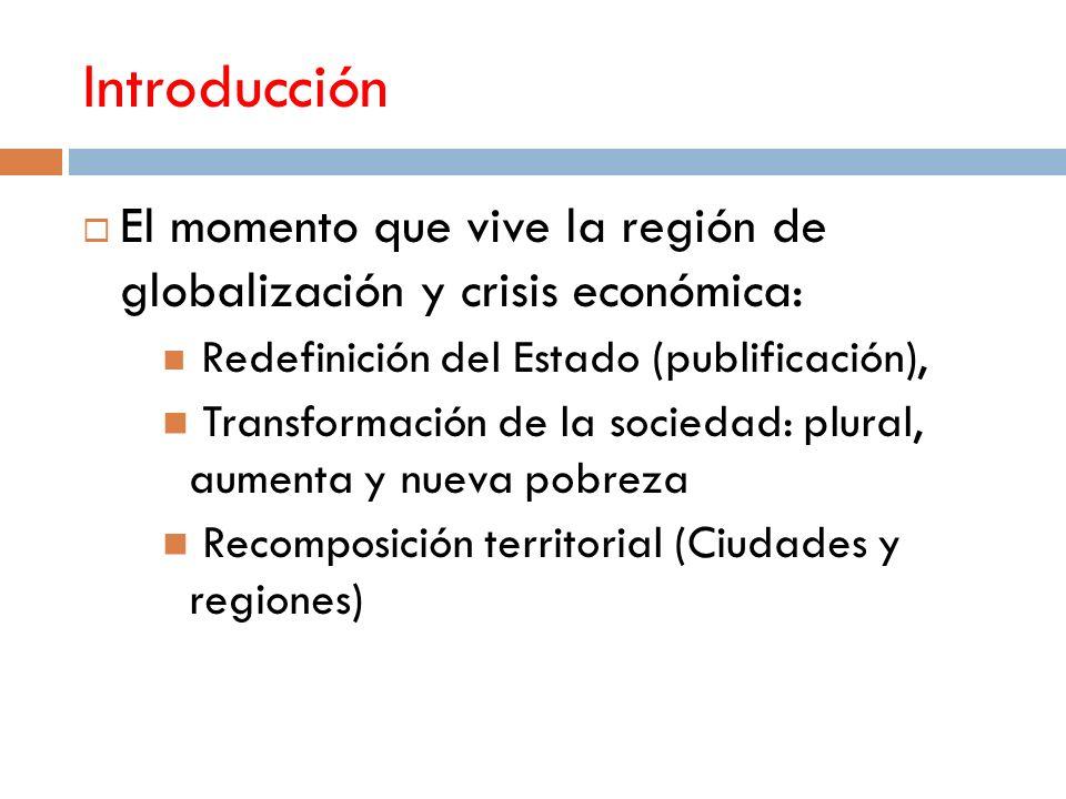 Introducción El momento que vive la región de globalización y crisis económica: Redefinición del Estado (publificación), Transformación de la sociedad: plural, aumenta y nueva pobreza Recomposición territorial (Ciudades y regiones)