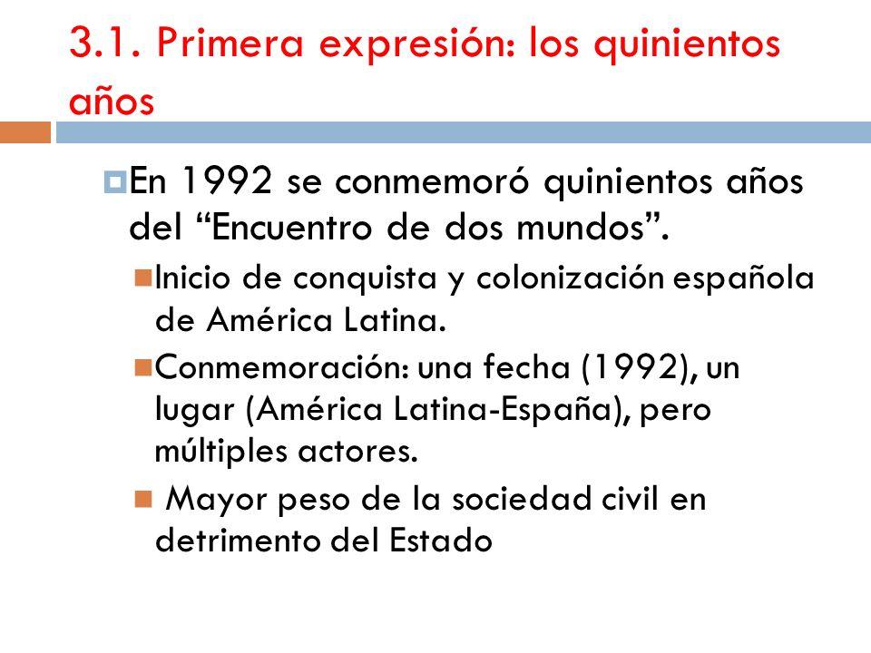 3.1. Primera expresión: los quinientos años En 1992 se conmemoró quinientos años del Encuentro de dos mundos. Inicio de conquista y colonización españ