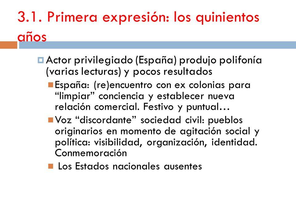 3.1. Primera expresión: los quinientos años Actor privilegiado (España) produjo polifonía (varias lecturas) y pocos resultados España: (re)encuentro c