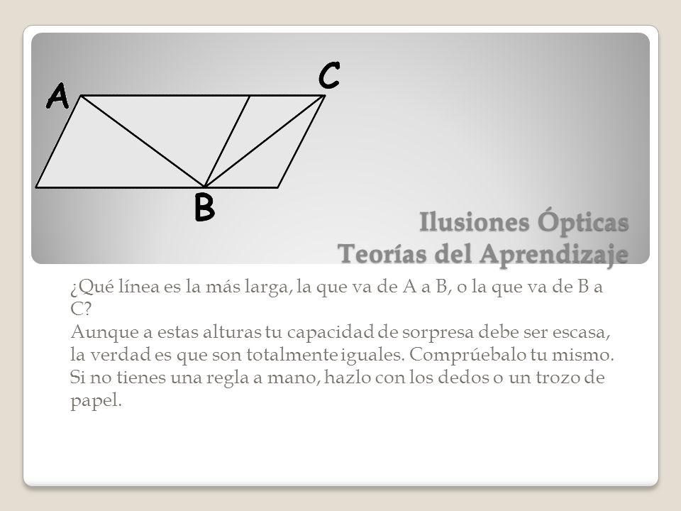 Ilusiones Ópticas Teorías del Aprendizaje ¿Qué línea es la más larga, la que va de A a B, o la que va de B a C? Aunque a estas alturas tu capacidad de