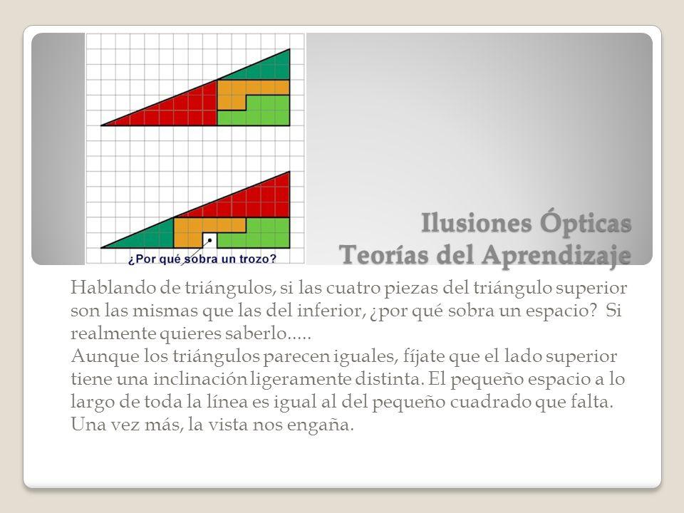 Ilusiones Ópticas Teorías del Aprendizaje Hablando de triángulos, si las cuatro piezas del triángulo superior son las mismas que las del inferior, ¿po
