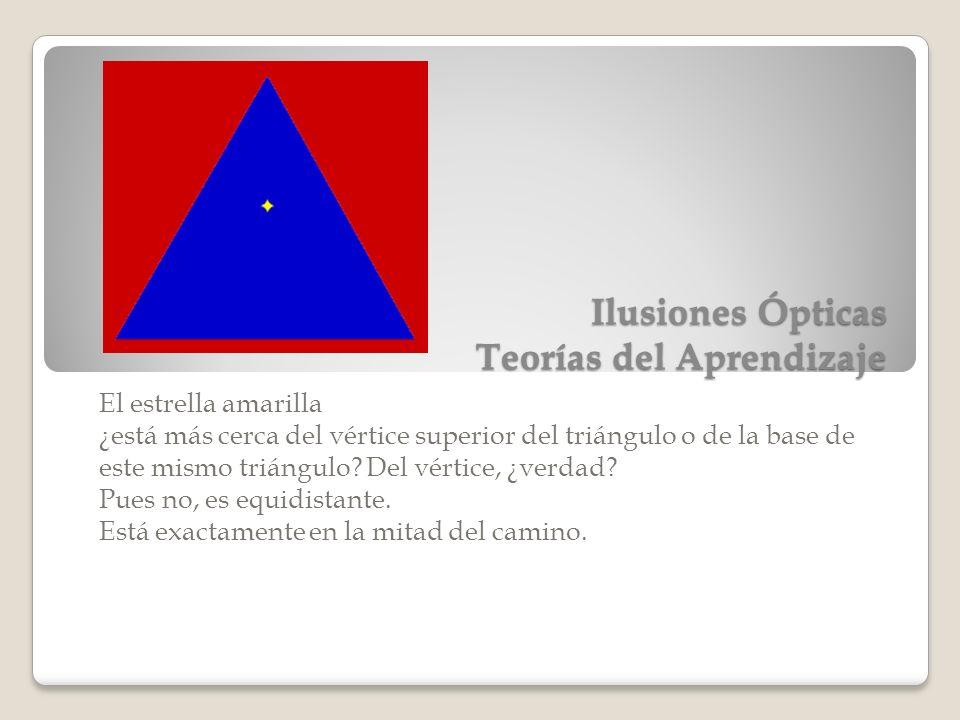 Ilusiones Ópticas Teorías del Aprendizaje El estrella amarilla ¿está más cerca del vértice superior del triángulo o de la base de este mismo triángulo