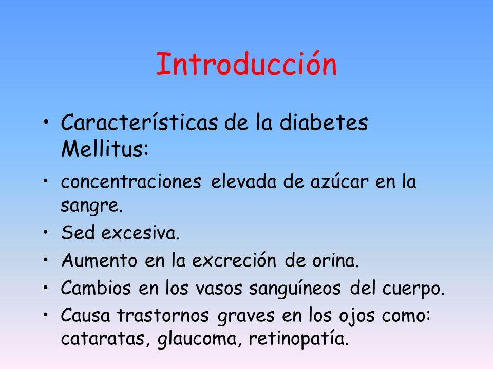 Introducción Características de la diabetes Mellitus: concentraciones elevada de azúcar en la sangre. Sed excesiva. Aumento en la excreción de orina.