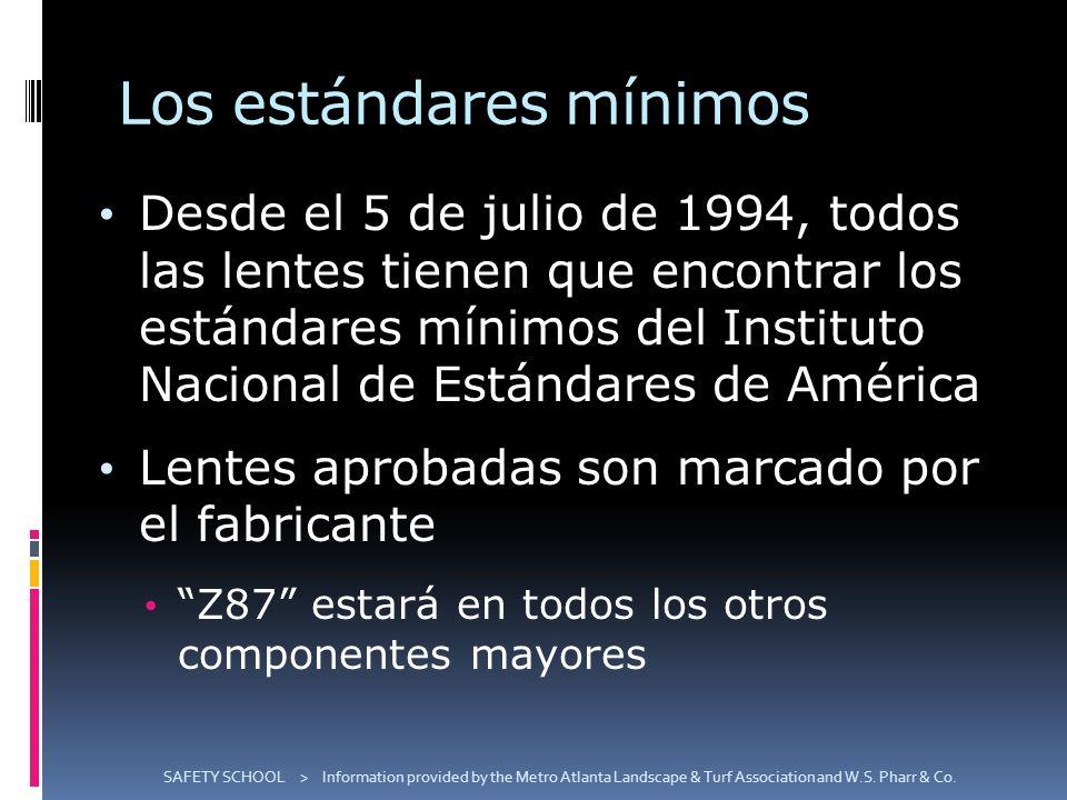 Los estándares mínimos Desde el 5 de julio de 1994, todos las lentes tienen que encontrar los estándares mínimos del Instituto Nacional de Estándares