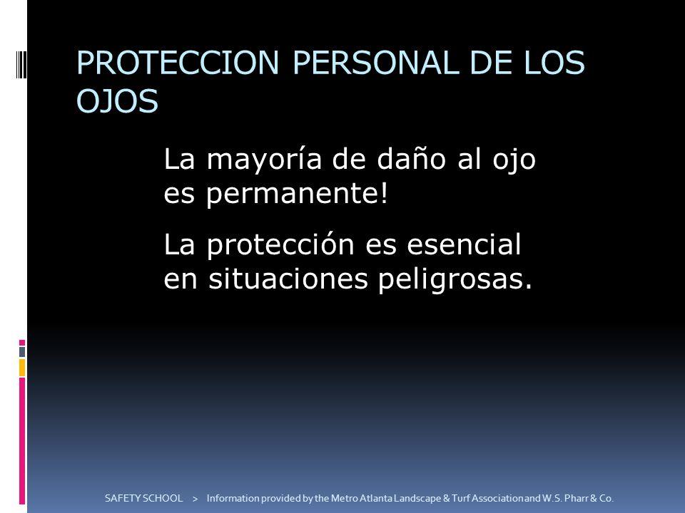 PROTECCION PERSONAL DE LOS OJOS La mayoría de daño al ojo es permanente! La protección es esencial en situaciones peligrosas. SAFETY SCHOOL > Informat
