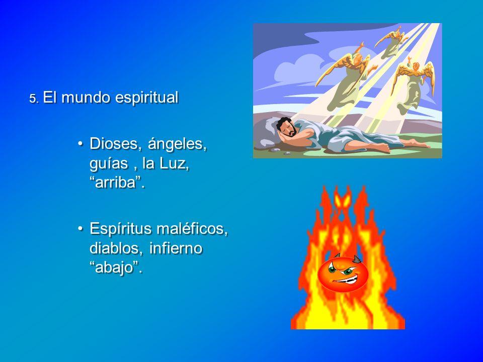 5. El mundo espiritual Dioses, ángeles, guías, la Luz, arriba. Espíritus maléficos, diablos, infierno abajo. 5. El mundo espiritual Dioses, ángeles, g