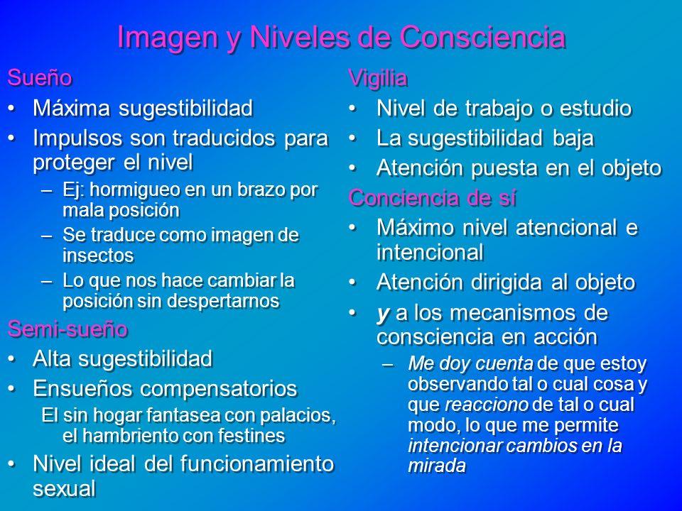 Imagen y Niveles de Consciencia Sueño Máxima sugestibilidad Impulsos son traducidos para proteger el nivel –Ej: hormigueo en un brazo por mala posició