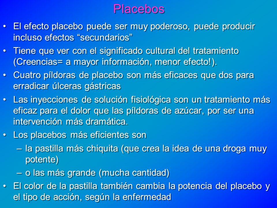 El efecto placebo puede ser muy poderoso, puede producir incluso efectos secundarios Tiene que ver con el significado cultural del tratamiento (Creenc