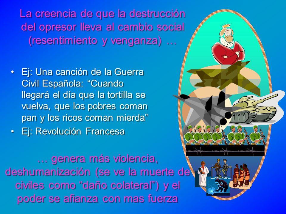 La creencia de que la destrucción del opresor lleva al cambio social (resentimiento y venganza) … Ej: Una canción de la Guerra Civil Española: Cuando