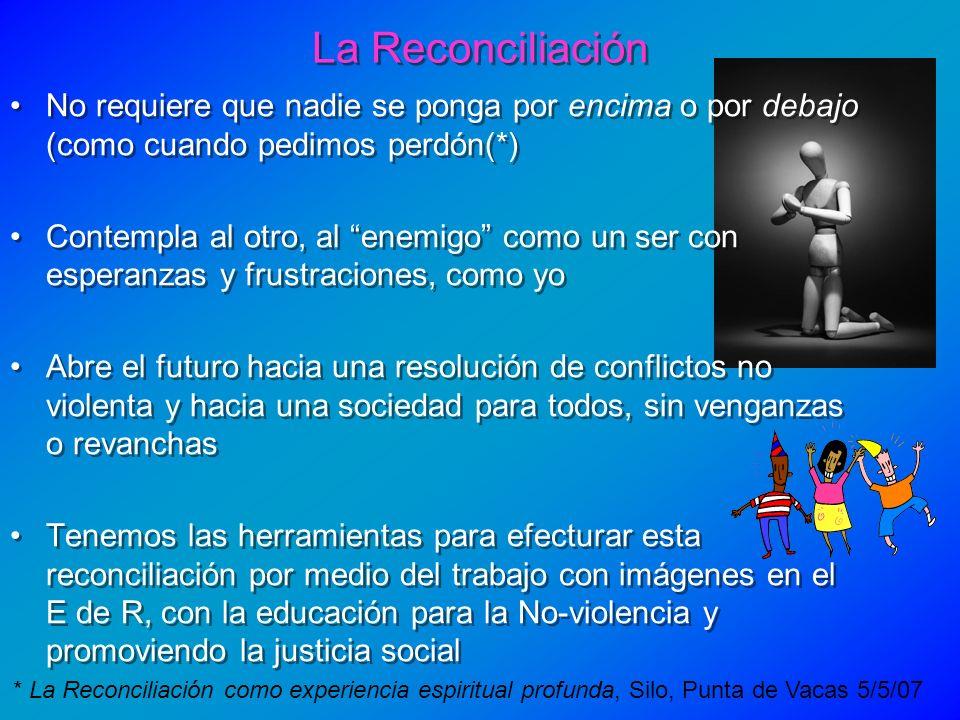 La Reconciliación * La Reconciliación como experiencia espiritual profunda, Silo, Punta de Vacas 5/5/07 No requiere que nadie se ponga por encima o po