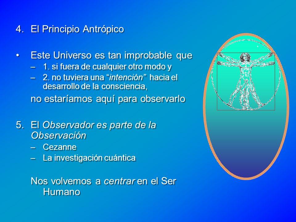4.El Principio Antrópico Este Universo es tan improbable que –1. si fuera de cualquier otro modo y –2. no tuviera una intención hacia el desarrollo de