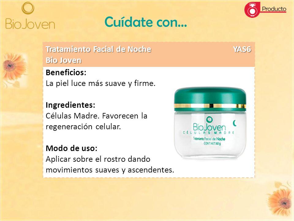 Cuídate con… Beneficios: La piel luce más suave y firme. Ingredientes: Células Madre. Favorecen la regeneración celular. Modo de uso: Aplicar sobre el