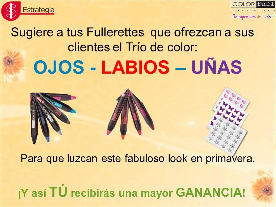 Sugiere a tus Fullerettes que ofrezcan a sus clientes el Trío de color: ¡Y así TÚ recibirás una mayor GANANCIA ! OJOS - LABIOS – UÑAS Para que luzcan