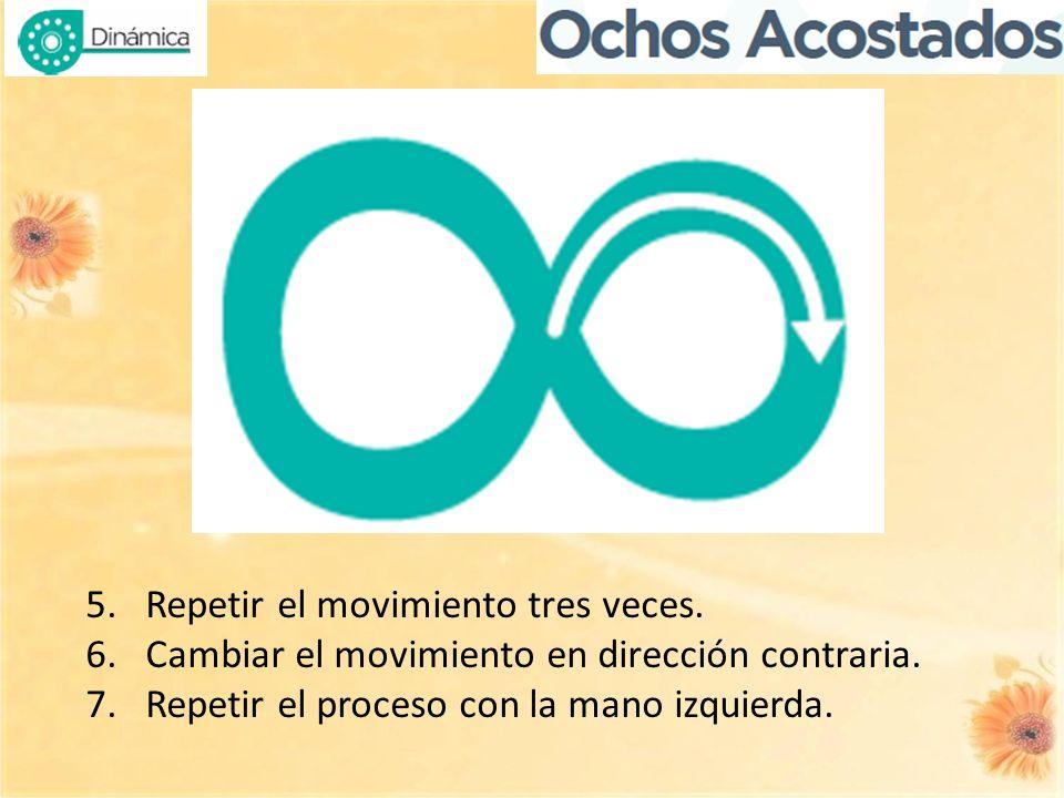 5.Repetir el movimiento tres veces. 6.Cambiar el movimiento en dirección contraria. 7.Repetir el proceso con la mano izquierda.