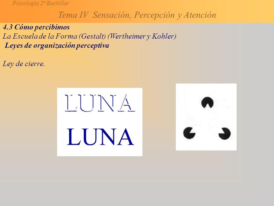 Psicología 2º Bachiller Tema IV Sensación, Percepción y Atención 4.3 Cómo percibimos La Escuela de la Forma (Gestalt) (Wertheimer y Kohler) Leyes de organización perceptiva Ley de cierre.