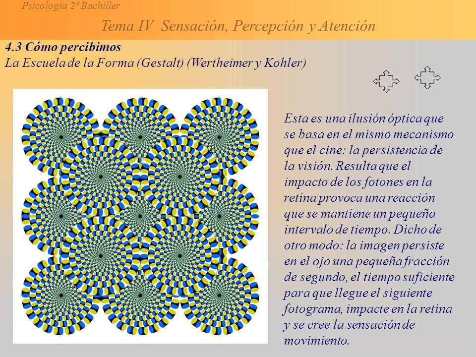 Psicología 2º Bachiller Tema IV Sensación, Percepción y Atención 4.3 Cómo percibimos La Escuela de la Forma (Gestalt) (Wertheimer y Kohler) Esta es una ilusión óptica que se basa en el mismo mecanismo que el cine: la persistencia de la visión.