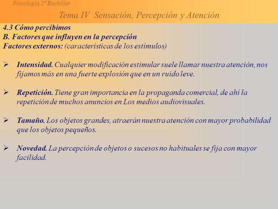 Psicología 2º Bachiller Tema IV Sensación, Percepción y Atención 4.3 Cómo percibimos B.